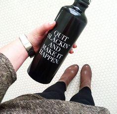 "Inspiration Quote Water Bottle 26 oz. - BPA-Free - Aluminum Bottle - ""Quit Slackin' and Make it Happen."""