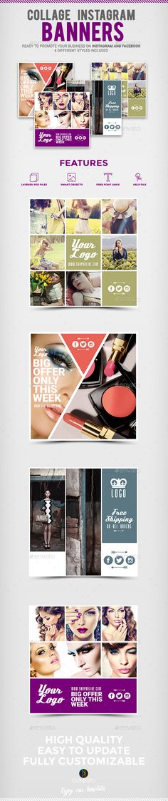 Collage Instagram Banners - PSD Template • Only available here ➝ http://graphicriver.net/item/collage-instagram-banners/13703753?ref=pxcr