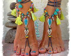 IBIZA Summer BAREFOOT Sandals Neon Tassel jewellery TURQUOISE sandal Tribal Cowgirl feet Ankle Wrap shoes foot wear crochet jewelry GPyoga