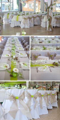 Décoration de mariage thème nature, table de mariage blanche et verte #mariage #wedding #realwedding