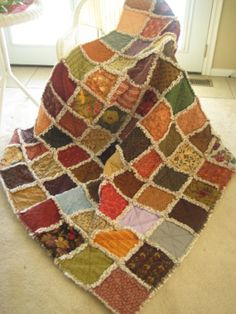 Rag Quilt Blanket Throw Size Designer's Moda by PeppersAttic, $239.00