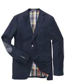 elbow patches and plaid lining a plus