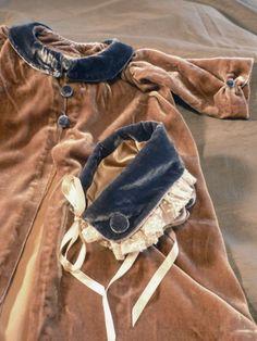 Silk Velvet Baby Coat and Bonnet KathleenCrowleyCouture