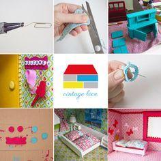 Neugestaltung eines Puppenhauses: 3. Möbel lackieren und Puppenhaus einrichten: http://www.kreativlaborberlin.de/neugestaltung-eines-puppenhauses-3-moebel-lackieren-und-puppenhaus-einrichten/