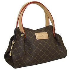"""Adorable """"baby"""" evening bag by Rioni will update any outfit Handbag features a gentle dark gold 'RR' Rioni monogram print against a solid brown Italian canvas body Bag accented softly with the side ru"""