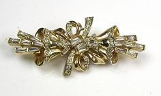 Stunning Rare Art Deco Coro Duette Pin ~ Gold & Rhinestone Baguettes ~ Flowers #Coro