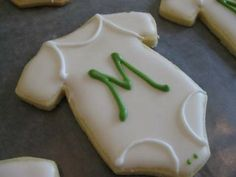 Monogrammed iced cookies.  Classic and cute for a baby shower