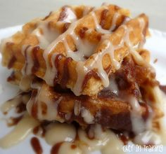 CINNAMON ROLL WAFFLES - make these for Dad's breakfast on Father's Day or for dessert later on in the day. As a dessert I might even top them off with ice cream and drizzle of chocolate syrup and dash of more cinnamon on top!