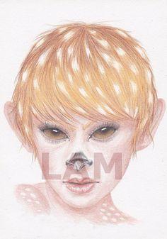 SALE  Deer Girl  Coloured pencil drawing  digital by DrawingsbyLAM, £0.30