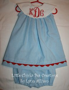 Seersucker Float Dress, White Collar with Initials and Rick Rack Trim and Bloomers to Match. $33.00, via Etsy.