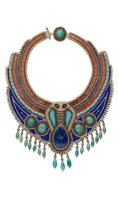 Jewelry Design - Bib-Style Necklace with Gemstone Cabochons and Beads, Seed Beads and Bugle Beads - Fire Mountain Gems and Beads