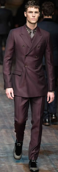 Dolce Gabbana FW 2014-2015... Men's deep wine double breasted suit