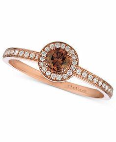 Macys Le Vian 14k Rose Gold Ring Chocolate Diamond Pave Band 14