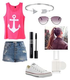 """""""Casual Summer Day"""" by zoehiphop ❤ liked on Polyvore featuring Pieces, Converse, Bling Jewelry, Essie and BCBGMAXAZRIA"""
