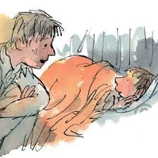 """Danny with his father, he was telling him about the Hazell's Wood - """"Danny The Champion of the World""""  Roald Dahl & Quentin Blake"""