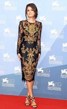 Selena Gomez in a Dolce & Gabbana dress and Jimmy Choo sandals (Venice Film Festival)
