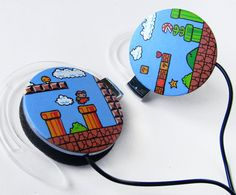 Super Mario headphones earphones green sky blue brown. so amazingly adorable!