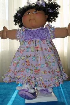 Cabbage Patch Doll cloths - Girls Easter Nightgown, Purple-Hair bows- Slippers