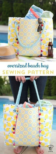 Learn how to sew a cute oversized pool bag with this FREE Oversized Beach Bag Sewing Pattern - so roomy and such a simple free pattern!