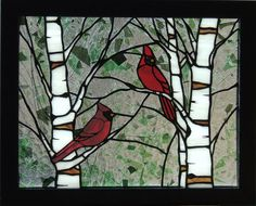 Please Note: This listing is for a PATTERN ONLY of the stained glass panel, Cardinals in the Spring. It is intended for makers of stained Stained Glass Cardinal, Stained Glass Birds, Faux Stained Glass, Stained Glass Designs, Stained Glass Panels, Stained Glass Projects, Stained Glass Patterns, Vitrail Cardinal, L'art Du Vitrail