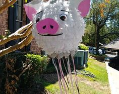 READY 2 SHIP Moana inspired cute Pua Pig pull string pinata - Pull the ribbons to open--