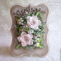 Купить Цветочная композиция из полимерной глины в рамке - белый, полимерная глина deco, полимерная флористика