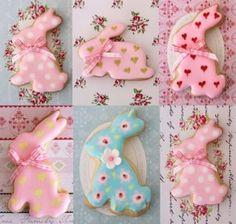 Galletas decoradas de pascua, en forma de conejo!!! pretty Easter cookies