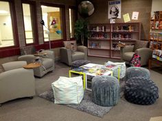 Teen room at Douglas High School Library. The teen group created their own teen area by selling coffee two days a week. #SDSLCornerstone