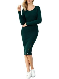 3f2c5d68a10 Button Embellished Bodycon Sweater Dress