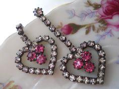 vtg 80s / Swarovski Rhinestone Earrings / Hearts in by luvmetwice, $12.00