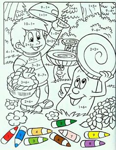 Kids Math Worksheets, Maths Puzzles, Activities For Kids, Crafts For Kids, Coloring For Kids, Coloring Pages, Singapore Math, Color By Numbers, Math Addition