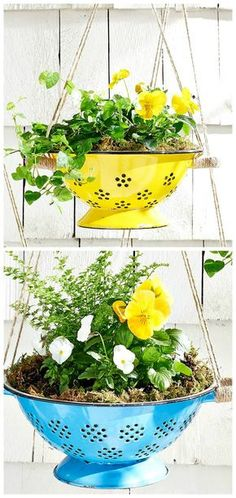 Get the tutorial to learn how to make this easy spring planter from a colander or strainer. Tree Planters, Outdoor Planters, Diy Planters, Flower Planters, Garden Planters, Outdoor Gardens, Planter Ideas, Glow Garden, Garden Trees