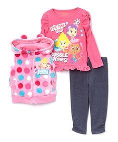 pink bubble guppies zipup vest set toddler zulily