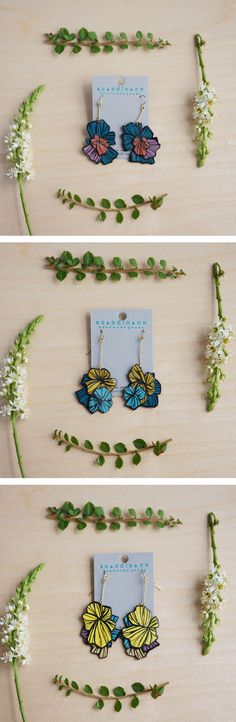 Bursting Bloom はな Statement Leather Earrings + + + hand-painted on reclaimed leather + + + s c a n d i n a z n