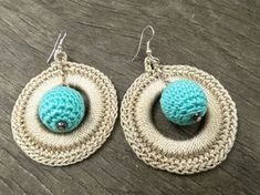 Handmade Crochet Earrings [0040ki] Crochet Disc Hoop Earrings with Crochet Bead, Earrings, Crochet Earrings / Katarzyna Bodera Sandycraft