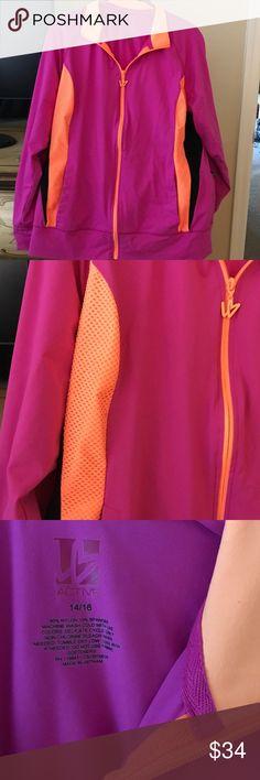 Lane Bryant workout jacket pink orange black 1416 PreownedLane Bryant zip up bright neon pink orange black two pockets very good condition.size 1416 washable Lane Bryant Jackets & Coats