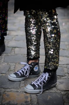 "Dying: sequin pants with Converse sneakers. ""…Escuela de Medicina (Rive Gauche, Paris)"" 