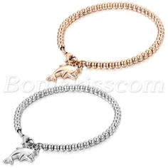 Women Lady Stainless Steel Cute Dolphin Dangle Bead Chain Bracelet Birthday Gift #Unbranded #Chain