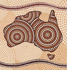 Imaginea stilizată a Australiei, realizată în stil aborigen