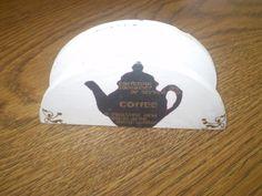 Napkin holder with coffee motif by KranzGeriShop on Etsy