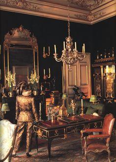 Givenchy Salon Vert, photographed by Victor Skrebneski, rue de Grenelle, Paris, 5 September 1991 Chateau Hotel, Interior Decorating, Interior Design, Paris Apartments, Classic Interior, Beautiful Interiors, French Interiors, Dark Interiors, French Furniture