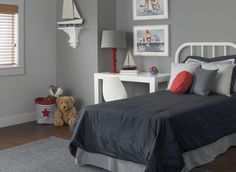 No-fail paint colors that will look good with anything and in any room! - The Cool Grey: Veil - mix with paint code Best Bedroom Colors, Best Paint Colors, Grey Paint Colors, Interior Paint Colors, Gray Color, Teal Gray Bedroom, White Bedroom, Boudoir, Blue Gray Paint
