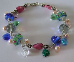 "Lampword Bead and Sterling ""Charm"" Bracelet-bracelet, swarovski, glass, heart, lampwork, beads, blue, glass, pearls"