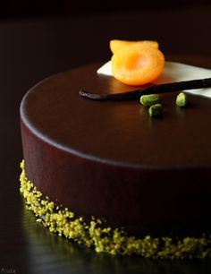 "Chocolate, apricot and cream cheese entremet Cake ""Morel"" with apricots and cream cheese mousse"