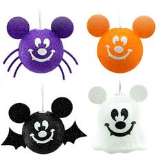 Hang a touch of sparkling holiday spirit in your own Haunted Forest with our Halloween Mickey Mouse Ornament Set. Four splendidly spooky designs include pumpkin, bat, spider and ghost, all with Mickey's smiling face and ears!