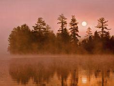 Sunrise on a Lake, Adirondack Park by Jay O'brien - looks like Fish Creek Pond to me