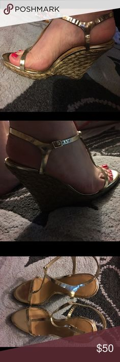 Metallic Gold Strappy Wedge Heels Gorgeous Metallic Gold Strappy Wedge Heels from Badgley Mischka. Stunning on and very versatile. I adore the wrapped wedge! Like New Condition. Badgley Mischka Shoes Wedges