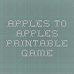 apples to apples Printable Game