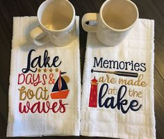 Nautical Dish Towel Set/Lake /Wedding REGISTRY gift Kitchen/Embroidered Kitchen Set, Lake Nautical Boat Personalized Gift//Housewarming Set by PatriciaMishlerHM on Etsy