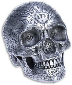 Celtic Skull highly detailed in silver finish resin